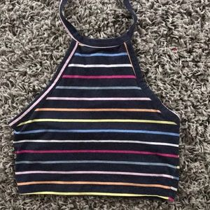 Barely worn Pacsun rainbow stripped halter top